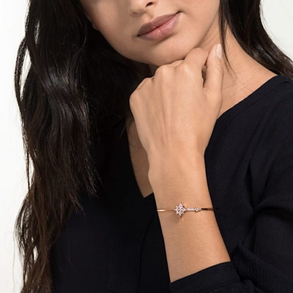 Bransoletka Swarovski - Symbolic Bangle, White, Rose-Gold 5494338 M