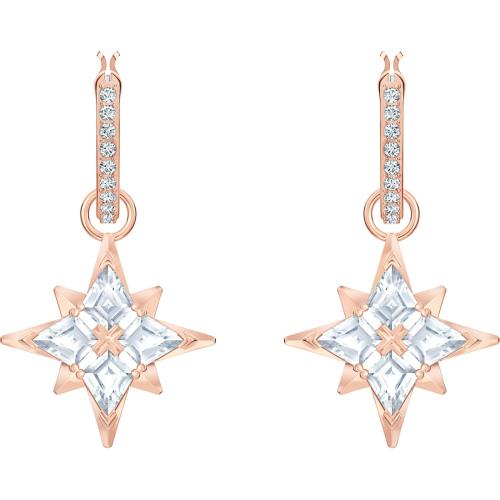 Kolczyki Swarovski - Symbolic Star Hoop Pierced Earrings, White, Rose Gold 5494337