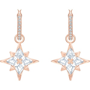 Kolczyki Swarovski - Symbolic Star Hoop Pierced Earrings, White, Rose Gold 5494337
