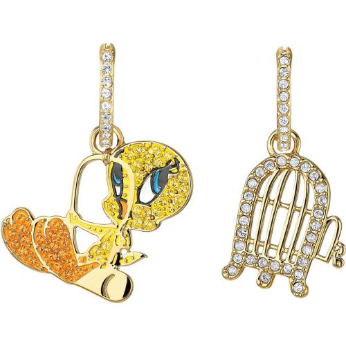 Kolczyki Swarovski - Looney Tunes Tweety Hoop Pierced Earrings, Multi-Colored 5487637