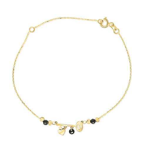Złota bransoletka z kryształkami - Kluczyk pr.333