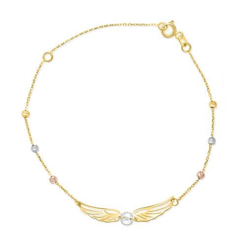 Złota bransoletka z cyrkonią - Skrzydełka pr.333