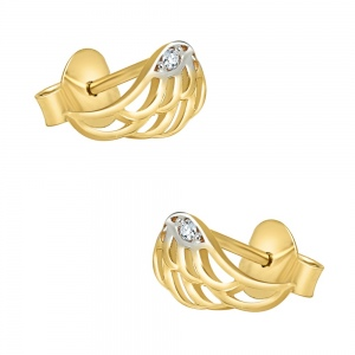 Złote kolczyki z cyrkoniami - Skrzydełka pr.585