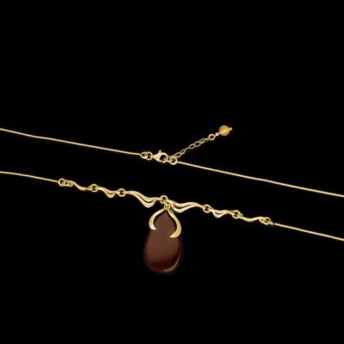 Srebrny naszyjnik z bursztynem pr.925