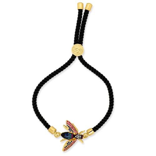 Pozłacane bransoletka na plecionym sznurku - Muchy