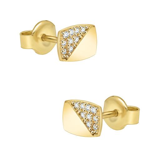 Złote kolczyki z cyrkoniami - Prostokąty pr.585
