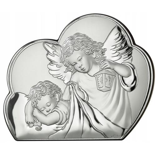Srebrny obrazek na chrzest św. - Aniołki