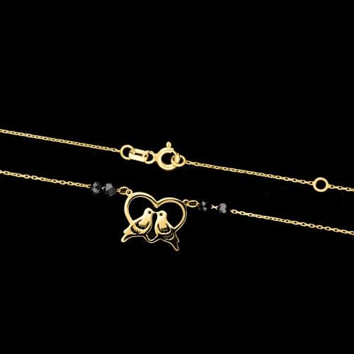 Złoty naszyjnik celebrytka - Gołębie w sercu pr.333