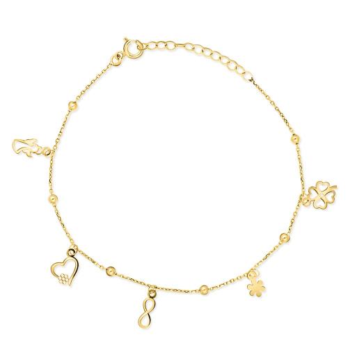 Złota bransoletka - Koniczynka, serduszko, anioł pr.333