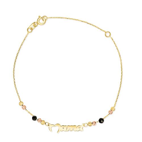 Złota bransoletka z kryształkami - Mama pr.333