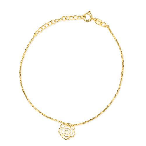 Pozłacana bransoletka celebrytka - Ażurowa Róża pr.925