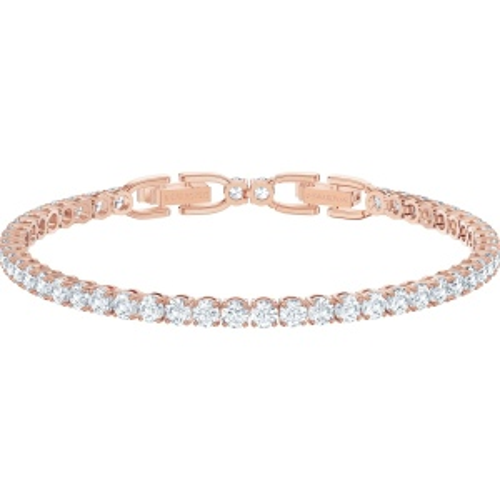 Bransoletka Swarovski - Tennis Deluxe Bracelet, White, Rose-Gold 5513400