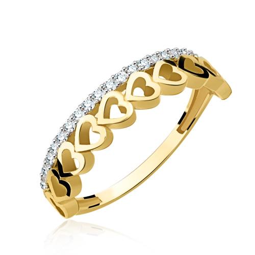Złoty pierścionek z cyrkoniami - Serduszka pr.333