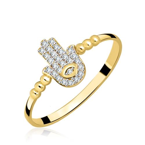 Złoty pierścionek z cyrkoniami - Dłoń Fatimy pr.333