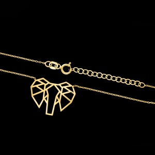 Złoty Naszyjnik Celebrytka - Origami Słoń pr.585