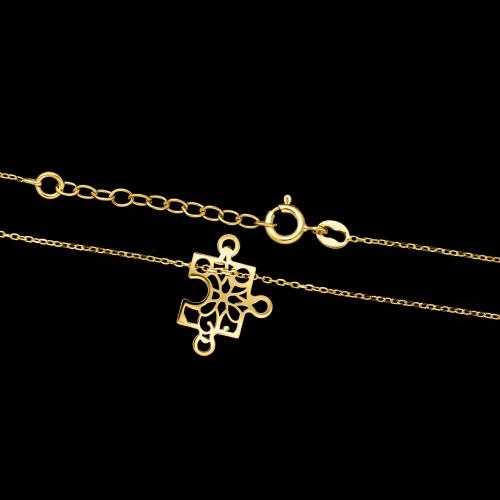 Pozłacany naszyjnik celebrytka - Ażurowy Puzzel pr.925