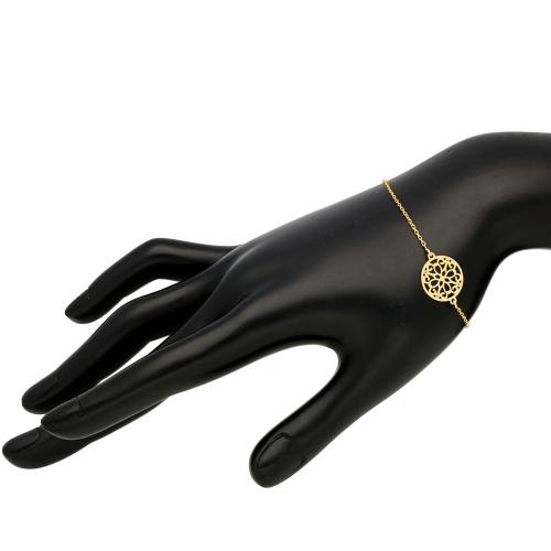 Pozłacana bransoletka celebrytka - Ażurowe Kółeczko pr.925