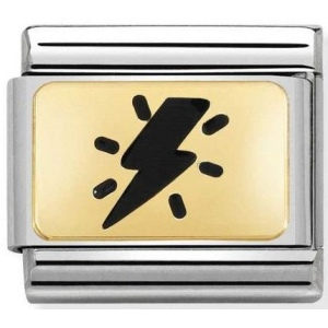 Nomination - Link 18K Gold 'Thunderbolt Black' 030284/40