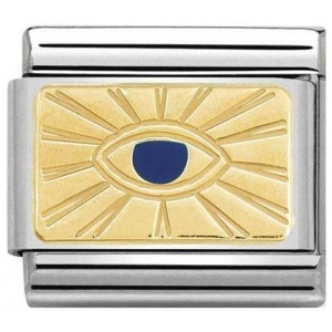 Nomination - Link 18K Gold 'Eye Blue' 030284/42
