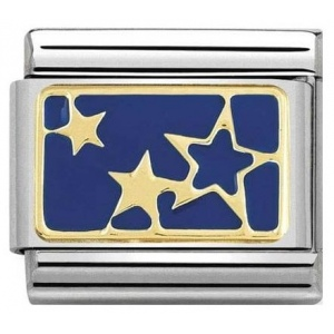 Nomination - Link 18K Gold 'Stars Blue Plate' 030284/44