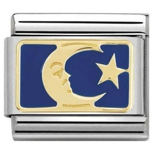 Nomination - Link 18K Gold 'Moon Blue Plate' 030284/45