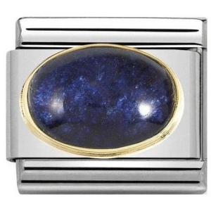 Nomination - Link 18K Gold 'Rock Crystal with Blue Leaf' 030516/04