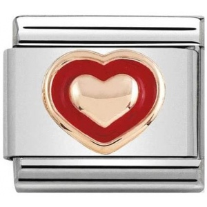 Nomination - Link 9K Rose Gold 'Heart with Red border' 430203/01