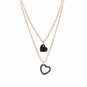 Naszyjnik Nomination Rose Gold - Emozioni Necklace With Double Black Hearts 147802/002