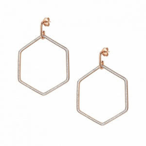 Kolczyki Nomination Rose Gold - Emozioni Earrings With Large Hexagon 147805/001