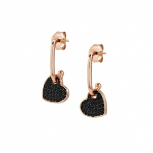 Kolczyki Nomination Rose Gold - Emozioni Earrings With Small Black Heart 147804/002