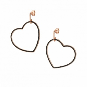 Kolczyki Nomination Rose Gold - Emozioni Earrings With Large Black Heart 147805/002