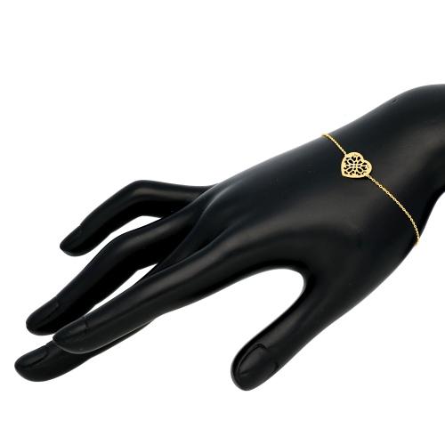 Złota Bransoletka - Ażurowe Serduszko 19cm pr.585