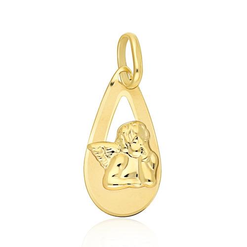 Złota zawieszka - Medalik z Aniołem pr.333