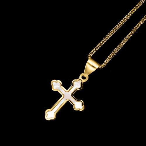 Złota zawieszka krzyżyk z masą perłową pr.333
