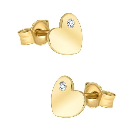 Złote kolczyki z cyrkoniami - Serca pr.333