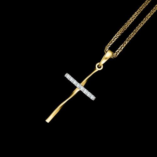 Złota zawieszka krzyżyk z cyrkoniami pr.333