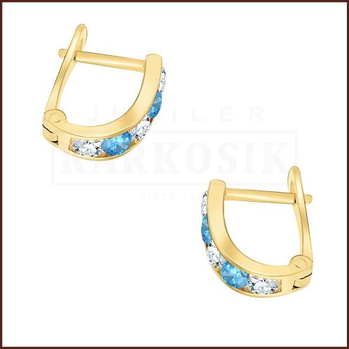 Złote kolczyki z błękitnymi cyrkoniami pr.333