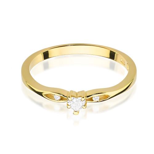 Pierścionek zaręczynowy z brylantami 0,12ct - Serce pr.585