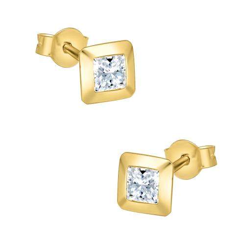 Złote kolczyki z cyrkoniami - Kwadraty pr.333