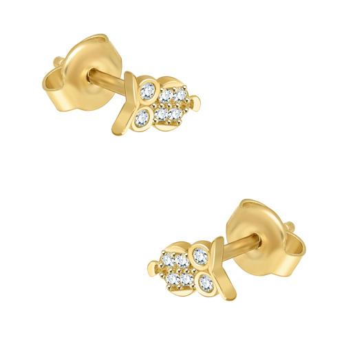 Złote kolczyki z cyrkoniami - Sowy pr.333