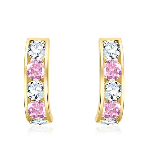 Złote kolczyki z różowymi cyrkoniami pr.333