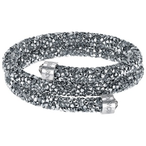 Bransoletka SWAROVSKI - Crystaldust Bangle Double, Gray 5237762 M