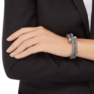 Bransoletka SWAROVSKI - Crystaldust Bangle Double, Gray 5237762