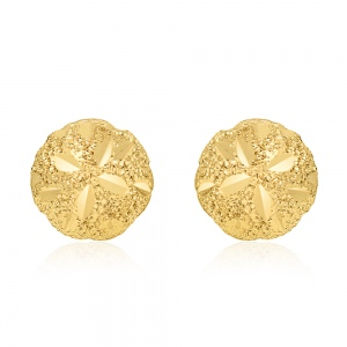 Złote kolczyki - Diamentowane Kulki 6,5mm pr.585