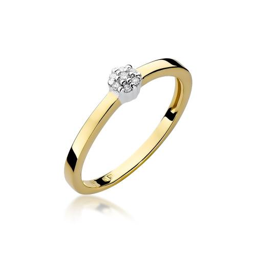 Pierścionek zaręczynowy z brylantami 0,04ct pr.585