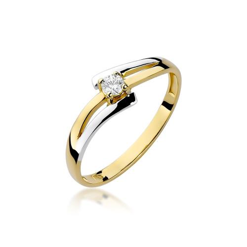 Pierścionek zaręczynowy z brylantem 0,10ct pr.585