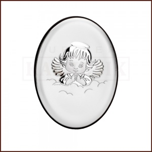 Srebrny obrazek na chrzest św. - Aniołek