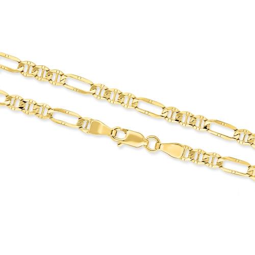 Złoty łańcuszek - Figaro zdobiony 50cm pr.585