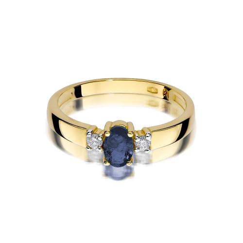Pierścionek zaręczynowy z szafirem 0,70ct i brylantami pr.585