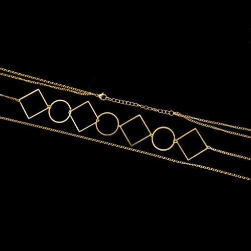Pozłacany podwójny naszyjnik celebrytka - Figury Geometryczne